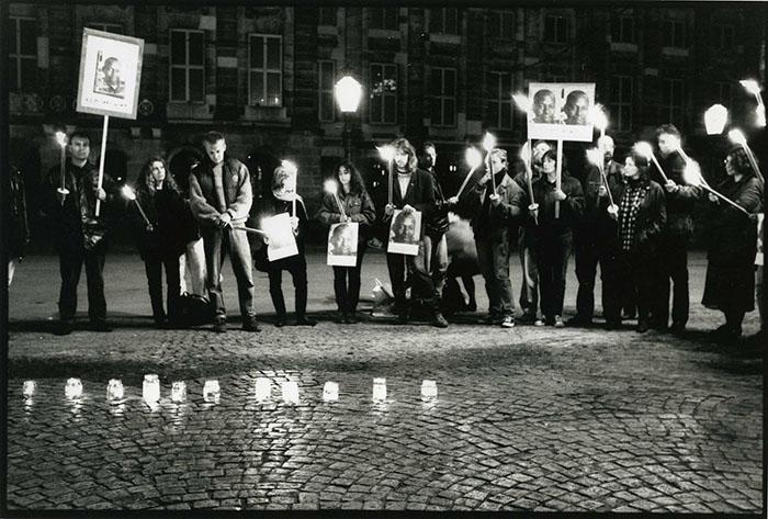 Vigil for Ken Saro Wiwa in Damsquare in Amsterdam