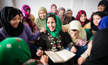 Fawzia Nawabi, investigator at the Afghanistan Independent Human Rights Commission, Mazar-e-Sharief, shares stories at a shelter for women at risk.