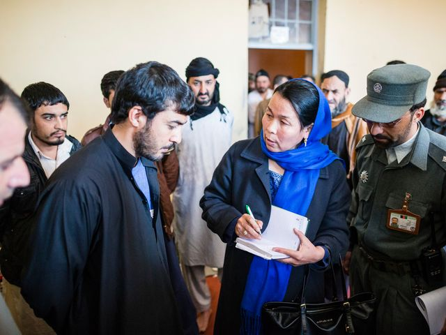 Shariefa Shahab, investigator at the Afghanistan Independent Human Rights Commission, Herat, gathers information in a local prison.