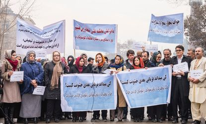 Demonstration in Kabul by civil society organizations against the sexual harrassment of girls and women in Afghanistan.