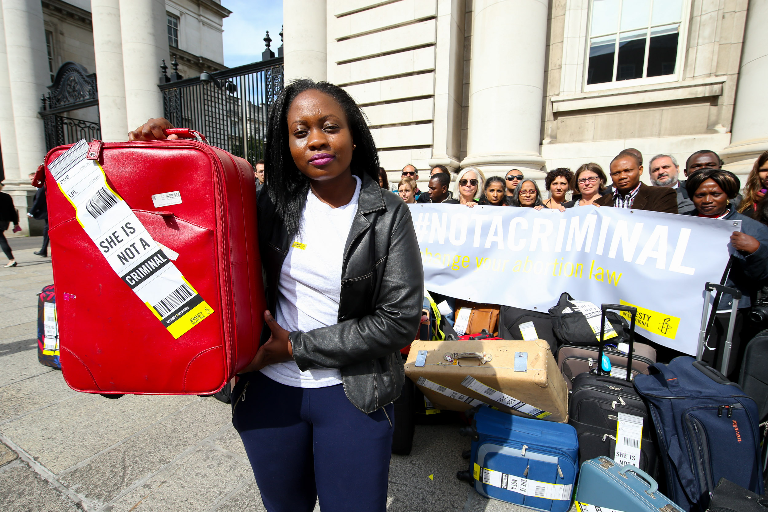 Amnesty supporters protest Ireland's restrictive abortion laws in Dublin, Ireland