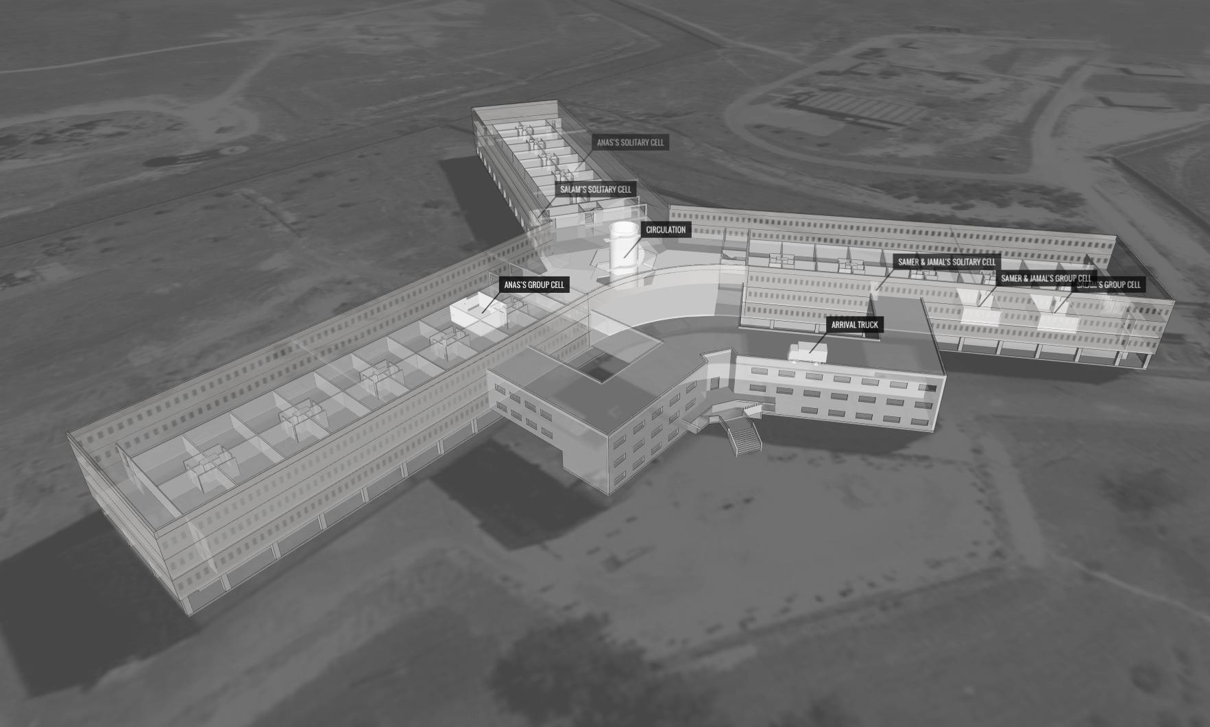 Saydnaya military prison, Syria, as visualised on Amnesty's Saydnaya forensic architecture web platform