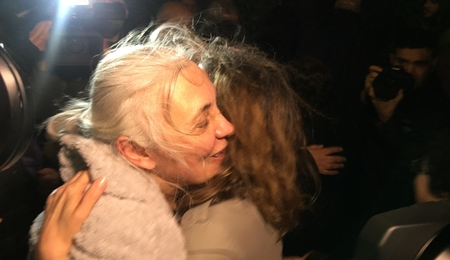 Idil Eser embraces a friend after being released from prison