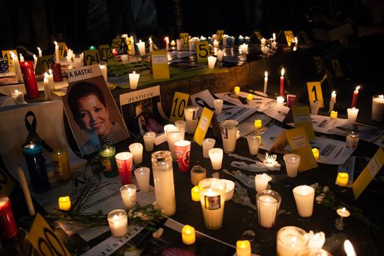 Candles at protest over Javier Valdez killing