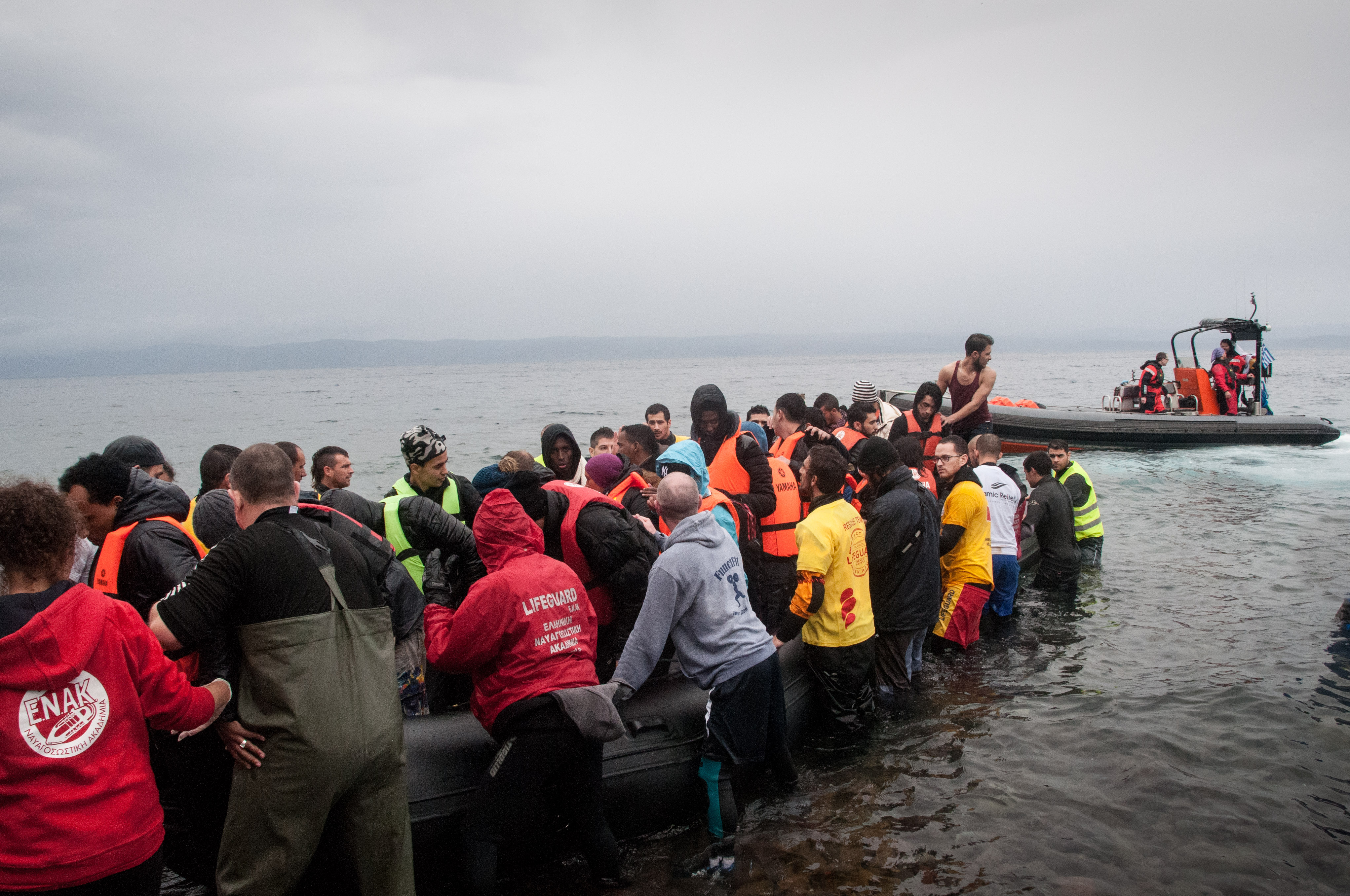 Refugees arriving by boat to Lesvos, Greece, from Turkey