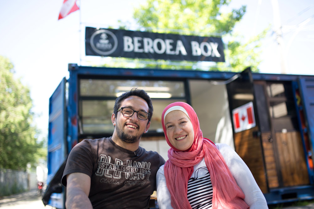 Amir Fattal and Nour Ammana outside their shop Beroea Box in Market 707 in Toronto