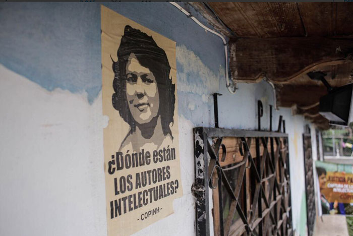 Poster of Berta Caceres at COPINH office