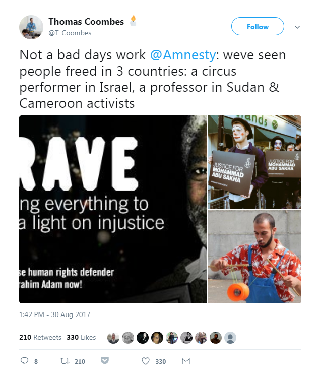 Tweet about prisoners of conscience being released