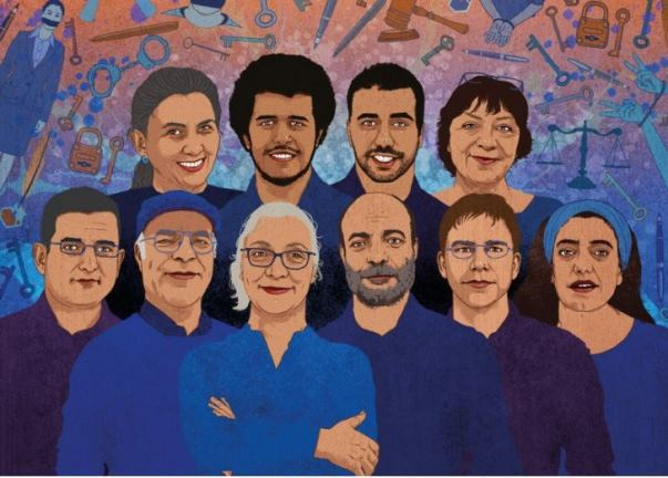 Artwork depicting The Istanbul 10 - human rights defenders who were detained during a workshop in July 2017. - © Rebecca Hendin