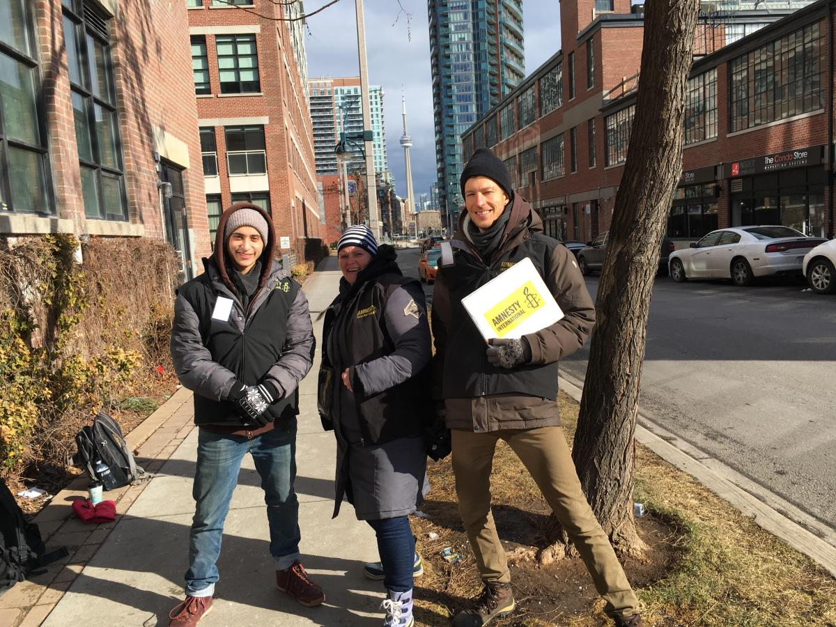 Amnesty canvassers in Toronto