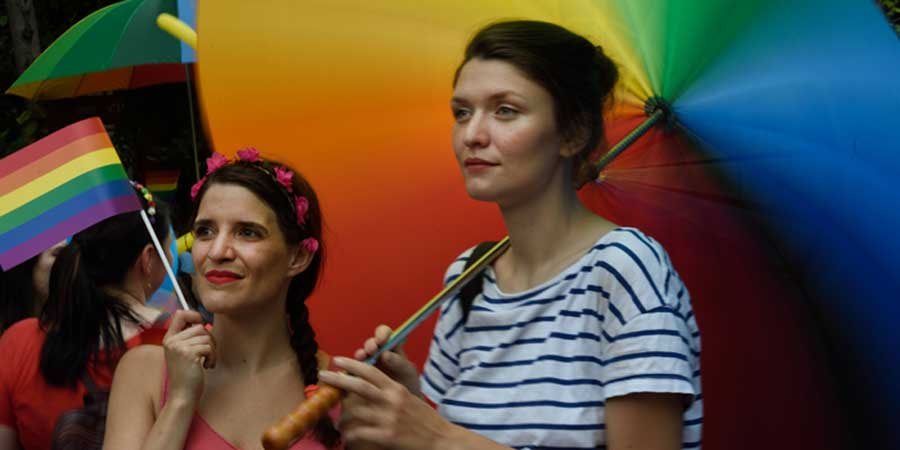 Two people take part in Pride in Budapest, Hungary