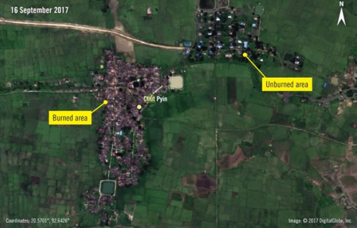 Satelite images of fire damage in a Rohingya village